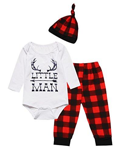Baby Boys Girls Cute Deer Little Man Long Sleeve Plaid Clothes Outfit Set (12-18 Months) -
