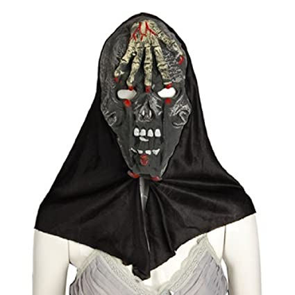 Horrível Testa Mão Crânio Máscara Halloween capa