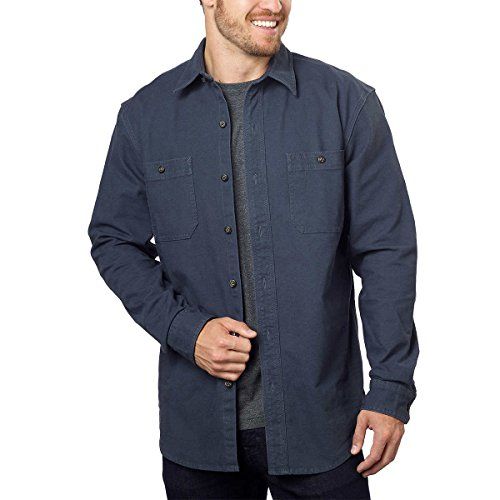 G.H. Bass & Co. Men's Stretch Twill Canvas Shirt (Blue Night, - Store Bass Outlet