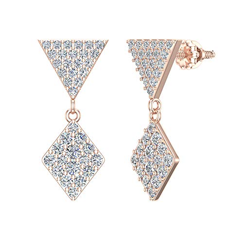 14K Rose Gold Diamond Earrings Kite Pattern Cluster Dangle Drop Earrings 0.82 carat total weight (G color, SI clarity)