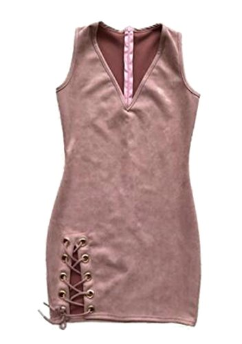 Color Stretch Lace Suede Up Womens CMC Pink Solid Faux Dress Sleeveless Club cpXqf7Z