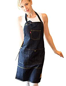 Vantoo Unisex Adjustable Chef Kitchen Denim Apron with Pockets for Men and Women,Navy Blue