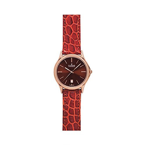 Charmex Madison Ave 2712 40mm Stainless Steel Case Brown Calfskin Synthetic Sapphire Men's Watch