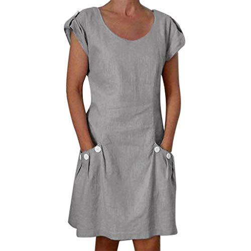 Cardigo Women's Dress Solid Ruffled Pockets O-Neck Shift Daily Buttoned-Decor Dress Gray