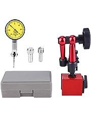 Indicador de Marcación 0,01mm con Soporte Base Magnetico Ajustable Rango 0~0,8 mm Indicador de Prueba de Dial