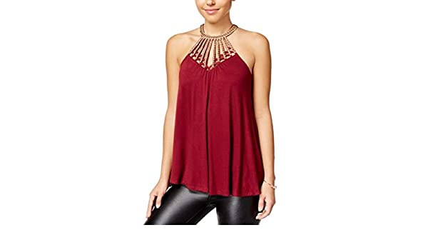 Almost Famous Crave Fame Juniors Embellished Cage-Front Tank Top
