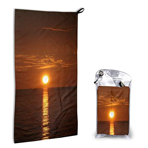 Camping Towel Sunrise with Linear Reflection Soft Compact Quick Dry Microfiber Best Fitness Beach Hiking Yoga Travel Sports Backpacking Gym Fast Drying Washcloth Hand Towels