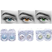Diamond Eye No Power Contact Lenses with Storage Box (Green, Sky Blue, Hazel) - Pack of 3 Pairs