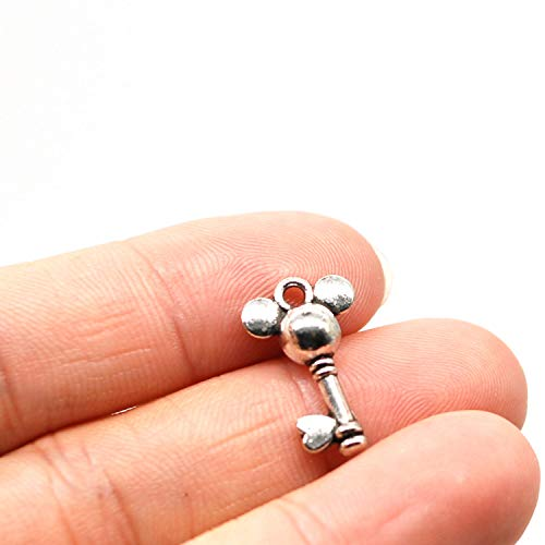 MT 2007 Alloy Charms, Silver Tone Handmade Supply Charms, Handmade Craft, Handmade Jewelry Supply (90PCS CC237 Mickey Mouse Key ()