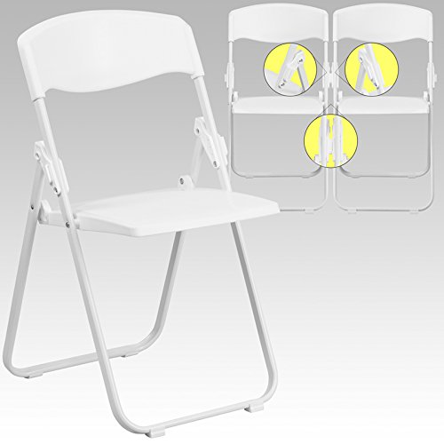 (Emma + Oliver White Plastic Folding Chair with Built-in Ganging Brackets)