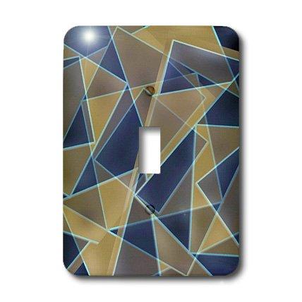 3dRose LLC lsp_29122_1 Blue Beige Retro Geometric, Single Toggle Switch
