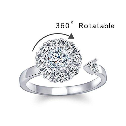 - KesaPlan Adjustable Opening Ring Waltz of Love Rotatable Zircon Ring Platinum Plated Copper