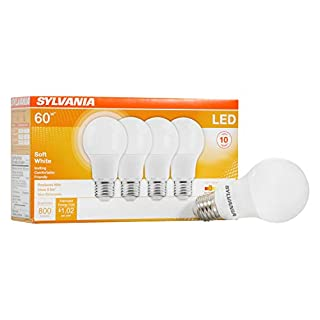 SYLVANIA General Lighting 73888 046135738883 SYLVANIA, 60W Equivalent, LED Light Bulb, A19 Lamp, 4 Pack, Soft White, Energy Saving & Longer Life, Medium Base, Efficient 8.5W, 2700K, 4 Count