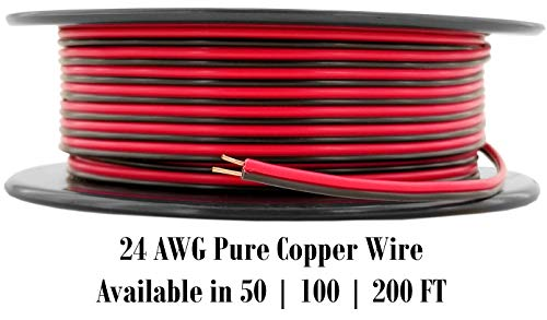 24 AWG (American Wire Ga) 99.9% OFC Stranded Copper Red/Black 2 Zip Cord Power Speaker Cable for Car Audio, Home Theater, LED Light. | 100 Feet Spool (Also Available in 50 & 200 ft)