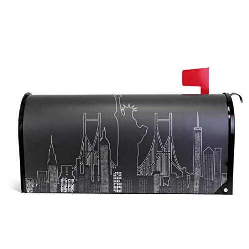 Fengye Black Statue of Liberty Art Mailbox Magnetic Cover Medium Large Capacity Post Box ()