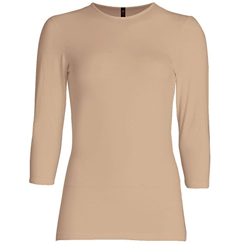 Esteez Womens 3/4 Sleeve Fitted Relaxed Fit Base Layering T-Shirt EX801136 Nude Tan Small Relaxed FIT