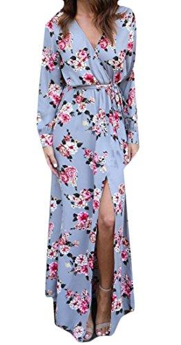 C & H Des Femmes Des Croix Imprimé Floral Longue Taille Haute Manches Fente Robe Légère Maxi Casual Bleu