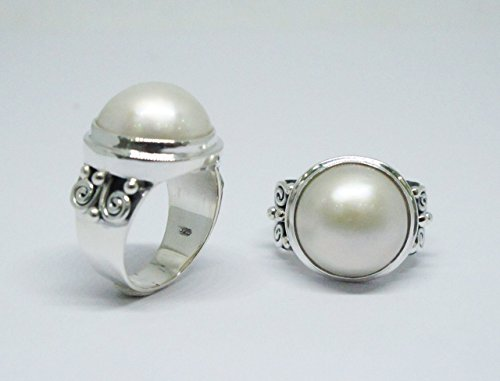 handmade 925 sterling silver ring with mabe pearl, pearl ring, mabe pearl ring, silver ring with mabe pearl, blister mabe pearl ring ()