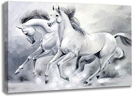 INTALENCE ART Running Horses Artwork Grey