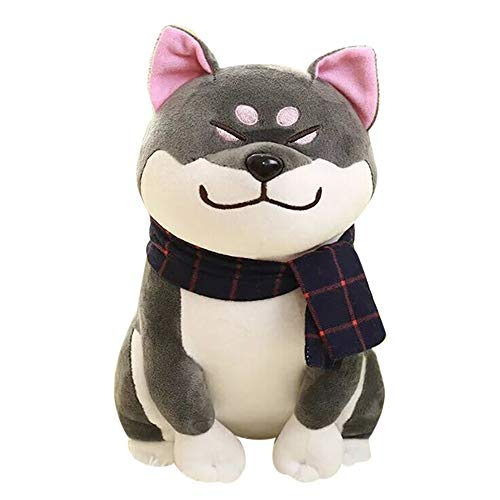 MiklanPlush Akita Doge Toy Stuffed Animal Puppy Doll with Scarf Shiba Inu Dog Soft (Gray) (Angry Birds Space Orange Bird Plush Toy)