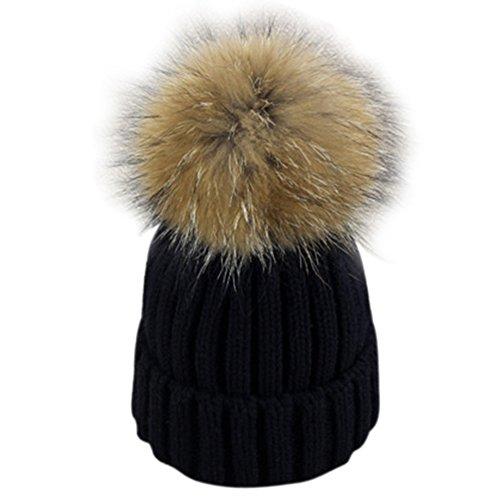 53565987b Dikoaina Winter Fur Hat Real Large Raccoon Fur Pom Pom Beanie ...