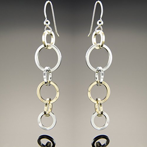 14K Gold Fill and Sterling Silver Mixed Metal Long Taper Dangle Earrings