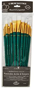 Royal & Langnickel - 9300 Series |10760:Zip N' Close 12-Piece White Taklon Long Brush Set - RSET-9316