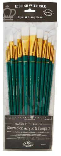 - Royal & Langnickel - 9300 Series |10760:Zip N' Close 12-Piece White Taklon Long Brush Set - RSET-9316