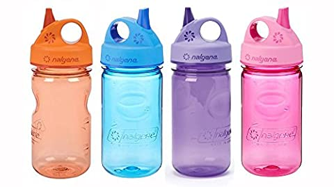 Nalgene Grip-N-Gulp Kids / Children's Tritan Water 12 Ounce Bottles, Set of Four Bottles - 1 Blue, 1 Pink, 1 Orange, and 1 Purple. 7.5 Inches Tall by 3.5 Inches Wide (Blue, Pink, Orange, and - Nalgene Grip N-gulp