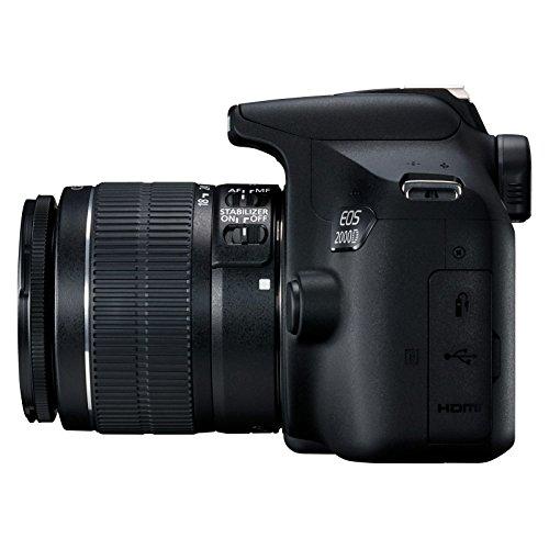 Canon EOS 2000D Spiegelreflexcamera, met lens EF-S 18-55 F3.5-5.6 IS II (24,1 MP, DIGIC 4+, 7,5 cm (3.0 inch) lcd-scherm…