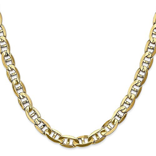 14k Yellow Gold 7mm Polished Concave Anchor Chain Necklace (14k Yellow Gold Anchor Chain)