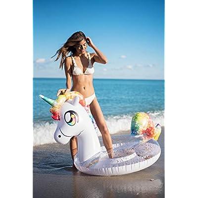 Poolcandy Inflatable Glitter Animal Collection Unicorn - Jumbo Pool Float | Swim Ring - Measuring 67