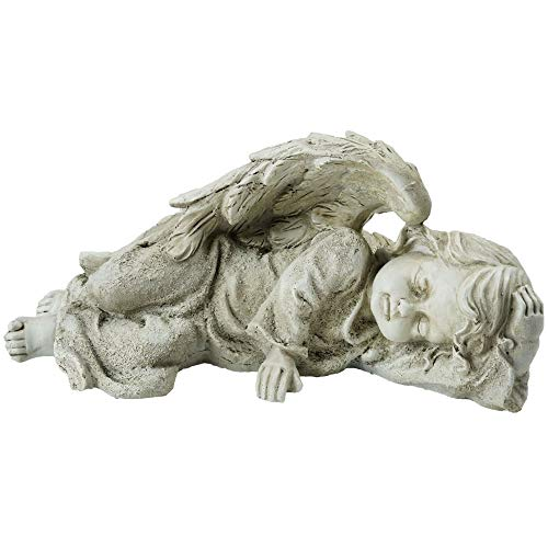 (Northlight Decorative Sleeping Cherub Angel Outdoor Garden Statue, 9.75