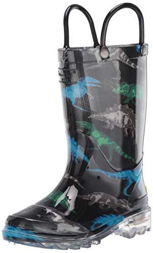 Western Chief Boys' Light-Up Waterproof Rain Boot, Dinosaur Friends 8 M US Toddler ()