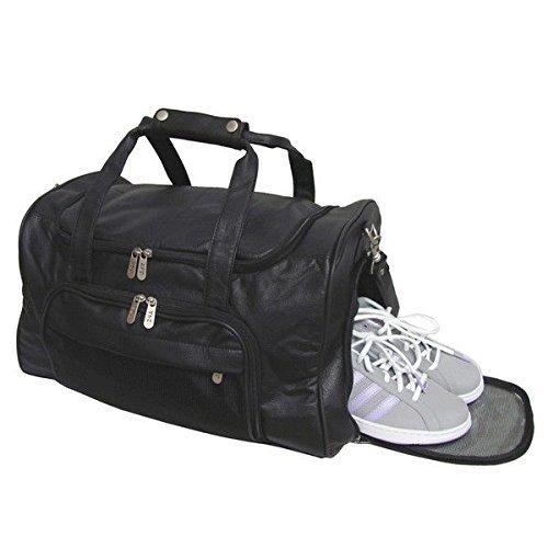 18inch Leather Black Carryon Carry Basic Black Crossfit Gym Bag Sport