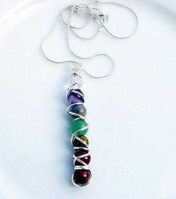 Amazon chakra pendant wire wrap gemstones handcrafted harmony chakra pendant wire wrap gemstones handcrafted harmony balance energy meridians zen love mozeypictures Choice Image