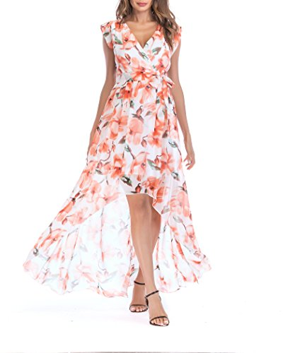 Print Cap V-neck (SUNNOW Women's V Neck Cap Sleeves Belted Floral Print Ruffle High-Low Maxi Summer Dress (L(US12-14), White))