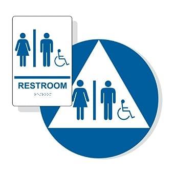 Amazoncom ComplianceSigns Acrylic ADA Unisex Restroom Sign Set - Ada unisex bathroom sign