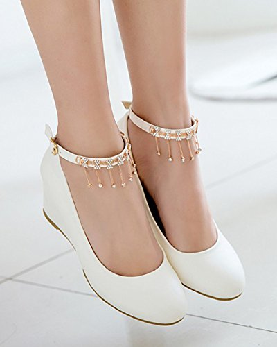 Aisun Womens Rhinestone Low Cut Dressy Round Toe Buckled Medium Heel Wedge Pumps Shoes With Ankle Strap White DhzoCx0MAt