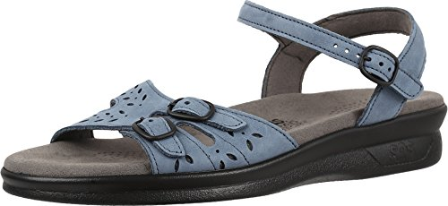 (SAS Womens Duo Leather Open Toe Casual Slingback Sandals, Denim, Size 6.5 Iewl)