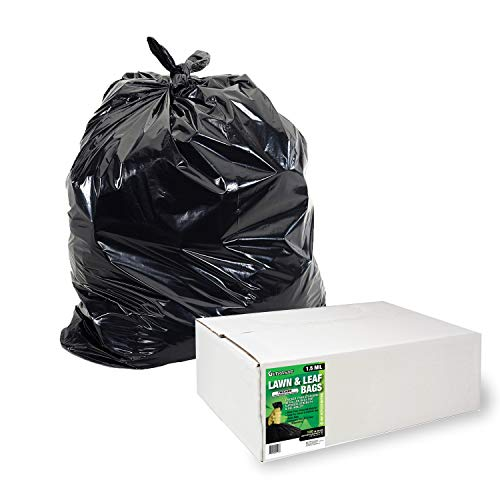 Aluf Plastics Lawn and Leaf Bags by Ultrasac - 39 Gallon Garbage Bags (HUGE 100 Pack /w Ties) 43' x 33' Heavy Duty Industrial Yard Waste Bag - Professional Outdoor Trash Bags for Contractors and more, Black, 1 -(Pack of 100) (769646)