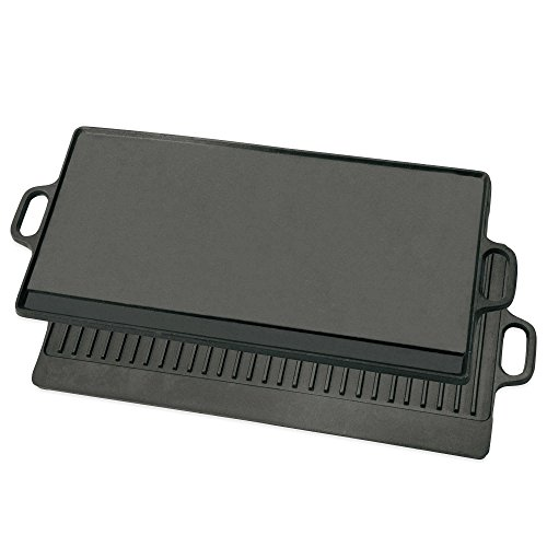 Bayou Classic Cast Iron Reversible Griddle, Black by Bayou Classic