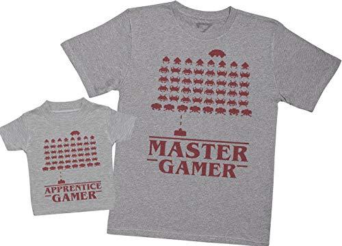 Master Gamer & Apprentice Gamer – Maak een set – Gecoördineerde cadeauset voor vader en baby – Heren-T-shirt en baby-T…