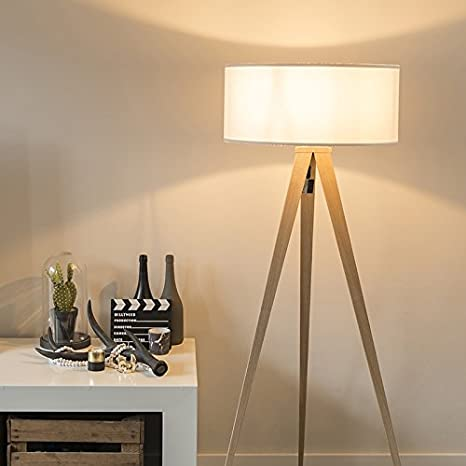 QAZQA Moderno Lámpara de pie TRIPE madera con pantalla blanca Textil/Acero Alargada Adecuado para LED Max. 1 x Watt