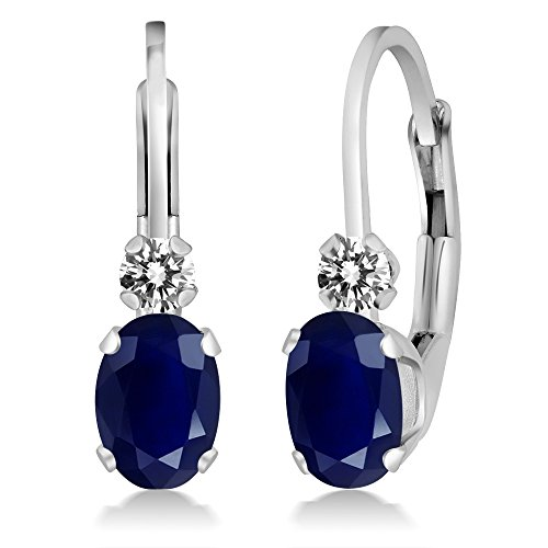 Gem Stone King 1.17 Ct Oval Blue Sapphire White Diamond 14K White Gold Earrings