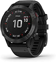 Garmin Fenix 6X Pro, Premium Multisport GPS Watch, Features Mapping, Music, Grade-Adjusted Pace Guidance