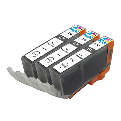 3 Pack - Compatible Ink Cartridges for Canon CLI-226 CLI-226GY Inkjet Cartridge Compatible With Canon PIXMA MG6120 PIXMA MG6220 PIXMA MG8120 PIXMA MG8120B PIXMA MG8220 (3 Gray) Ink & Toner 4 You ®