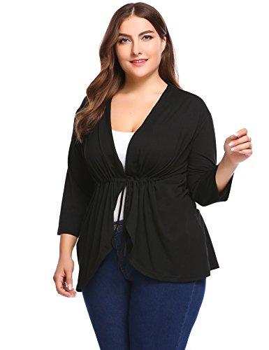 IN'VOLAND Women's Plus Size Lightweight Long Sleeve Open Cardigan - Oversize Flyaway - Oversized Wrap Cardigan