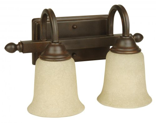 Ellington Bathroom Lighting - Jeremiah 15214AG2 Madison 2 Light Vanity Light Fixture Textured with Antique Scavo Glass, Aged Bronze