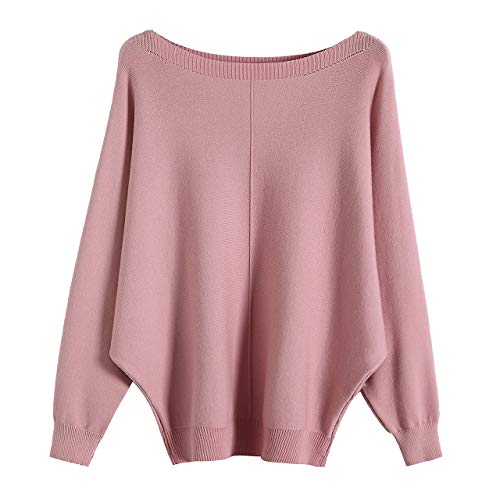 (GABERLY Boat Neck Batwing Sleeves Dolman Knitted Sweaters and Pullovers Tops for Women (Pink-2, One Size))